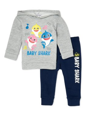 Baby Shark Baby Boy & Toddler Boy Long-Sleeve Fleece Top and Pant Outfit Set, 2-Piece (12M-2T)