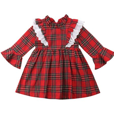 Family Sister Christmas Matched Outfits Baby Girls Long Sleeve Red Plaid Dress 2-3 Year](Christmas Family Outfit)