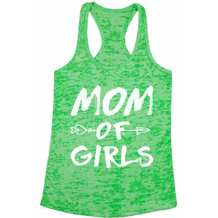 336cf9894 Awkward Styles Women's Mom of Girls Arrow Mother's Day Graphic Burnout  Racerback Tank Tops White Motherhood New Mom