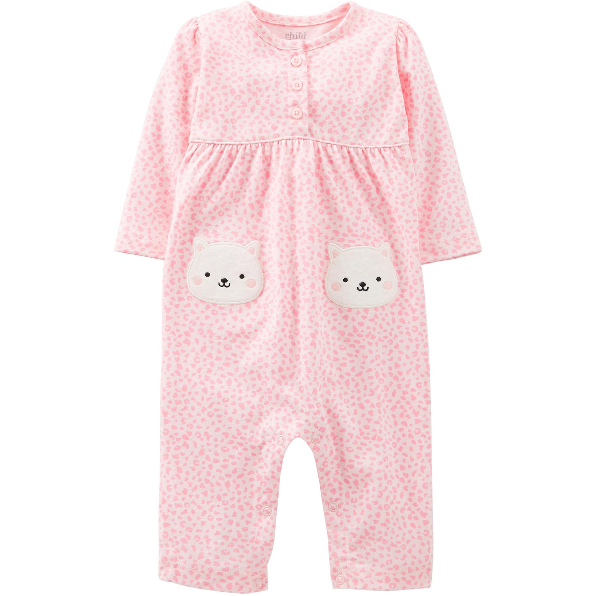 Child of Mine by Carter's Newborn Girl Cotton Jumpsuit
