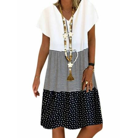 Women's Short Sleeve Polka Dot Striped Summer Midi Dresses Plus Size Sundress Pink Dog Sundress