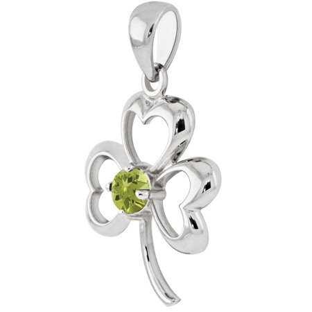 New 0.925 Sterling Silver Irish Shamrock 3 Leaf Clover Genuine Peridot Pendant