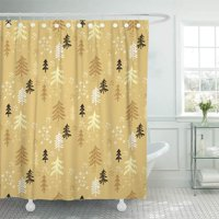 PKNMT Hipster Christmas with Tree Winter Forest Holiday Gold and Black Unique Noel Bathroom Shower Curtains 60x72 inch