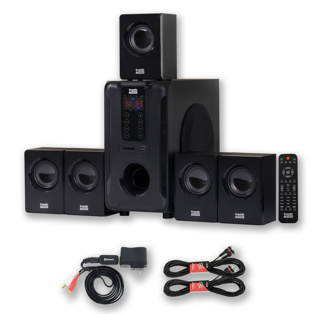Acoustic Audio AA5105 Home Theater 5.1 Speaker System 700W with Bluetooth and 2 Ext. Cables AA5105B-2