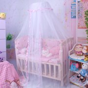 Round Mesh Dome Bed Canopy Netting Princess Mosquito Net with Lace Trim for Babies