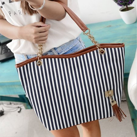 HC-TOP Womens Canvas plaid Handbags Girls Tote Satchel Beach Shoulder shopping Bags - image 5 de 6