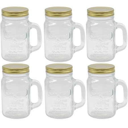 6 Mason Jar With Handle Mug Rustic Bridal Wedding Drinking Desserts Glass 16oz - Plastic Mason Jars With Handles