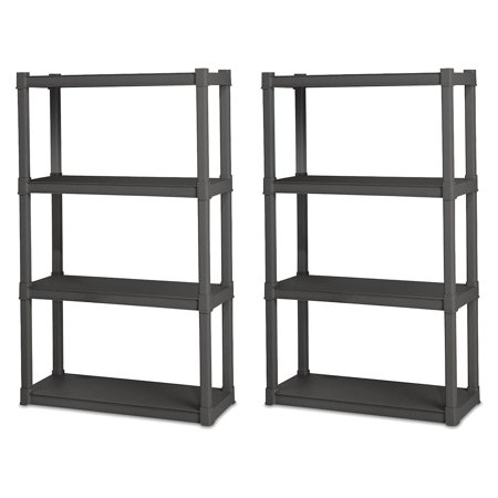 Sterilite 4 Shelf Durable Solid Gray Surface Shelving Unit, 2 Pack | 01643V01 ()