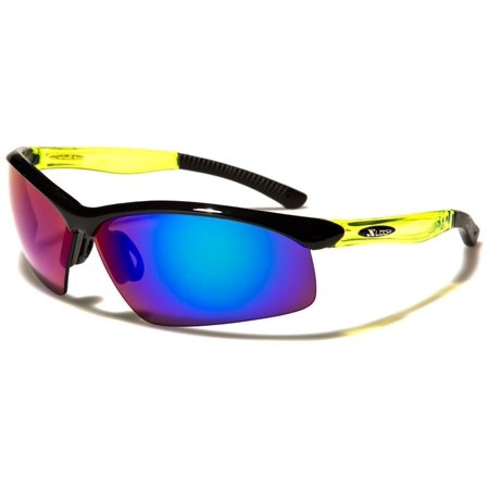 New Mens Mirrored Lens Half Frame Wrap Around Sport Cycling Baseball Sunglasses ()