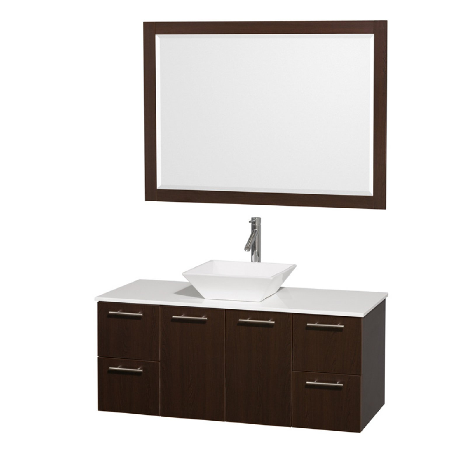 "Wyndham Collection Amare 48"" Single Bathroom Vanity in Espresso with Green Glass Top with White Porcelain Sink and 46"" Mirror"