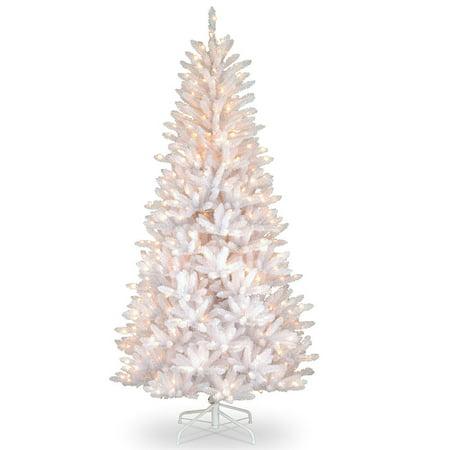 7.5 ft. Pre-lit Dunhill White Iridescent Slim Fir Artificial Christmas Tree - Clear (7-5 Ft Dunhill Fir Full Artificial Christmas Tree)