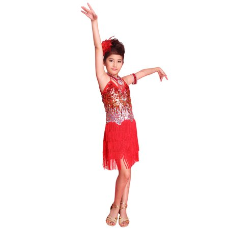 Girls Kids Sequined Latin Salsa Tassel Dancewear Dancing Dress Costume