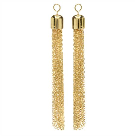Chain Tassel Pendant, Cable Link Threads with Bell End Cap and Loop 77mm, 2 Pieces, 22K Gold Plated