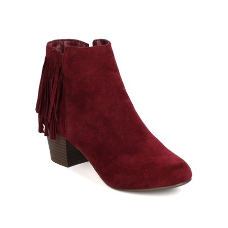 GK88 Women Faux Suede Fringe Chunky Heel Ankle Boot
