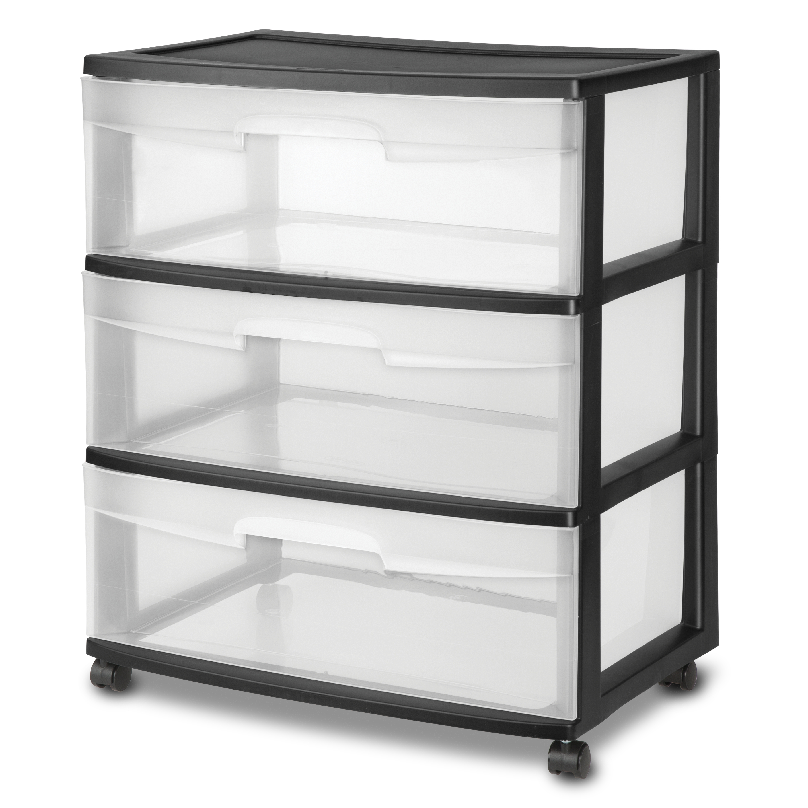 Sterilite Wide 3 Drawer Cart, Black