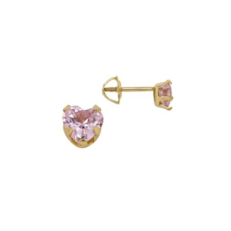 - Girls' Pink Cubic Zirconia and 14K Yellow Gold Heart Stud Earrings