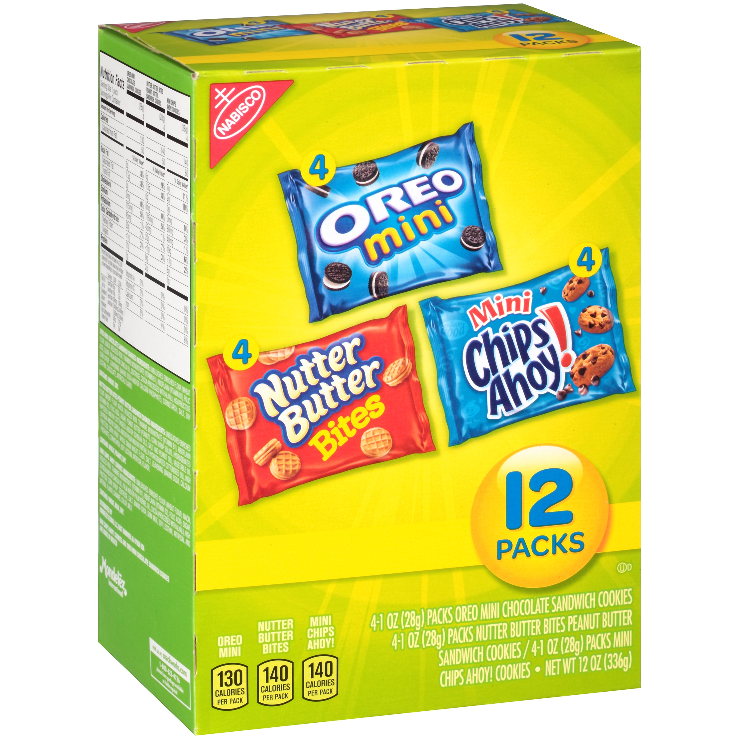 Nabisco Oreo Mini, Nutter Butter Bites & Mini Chips Ahoy! Cookies Variety Pack, 1 oz, 12 count