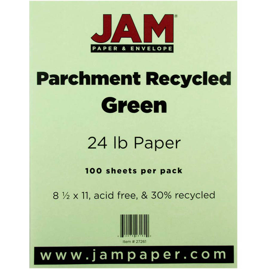 "JAM Paper 8.5"" x 11"" Parchment Recycled 24 lb Paper, Green, 100pk"