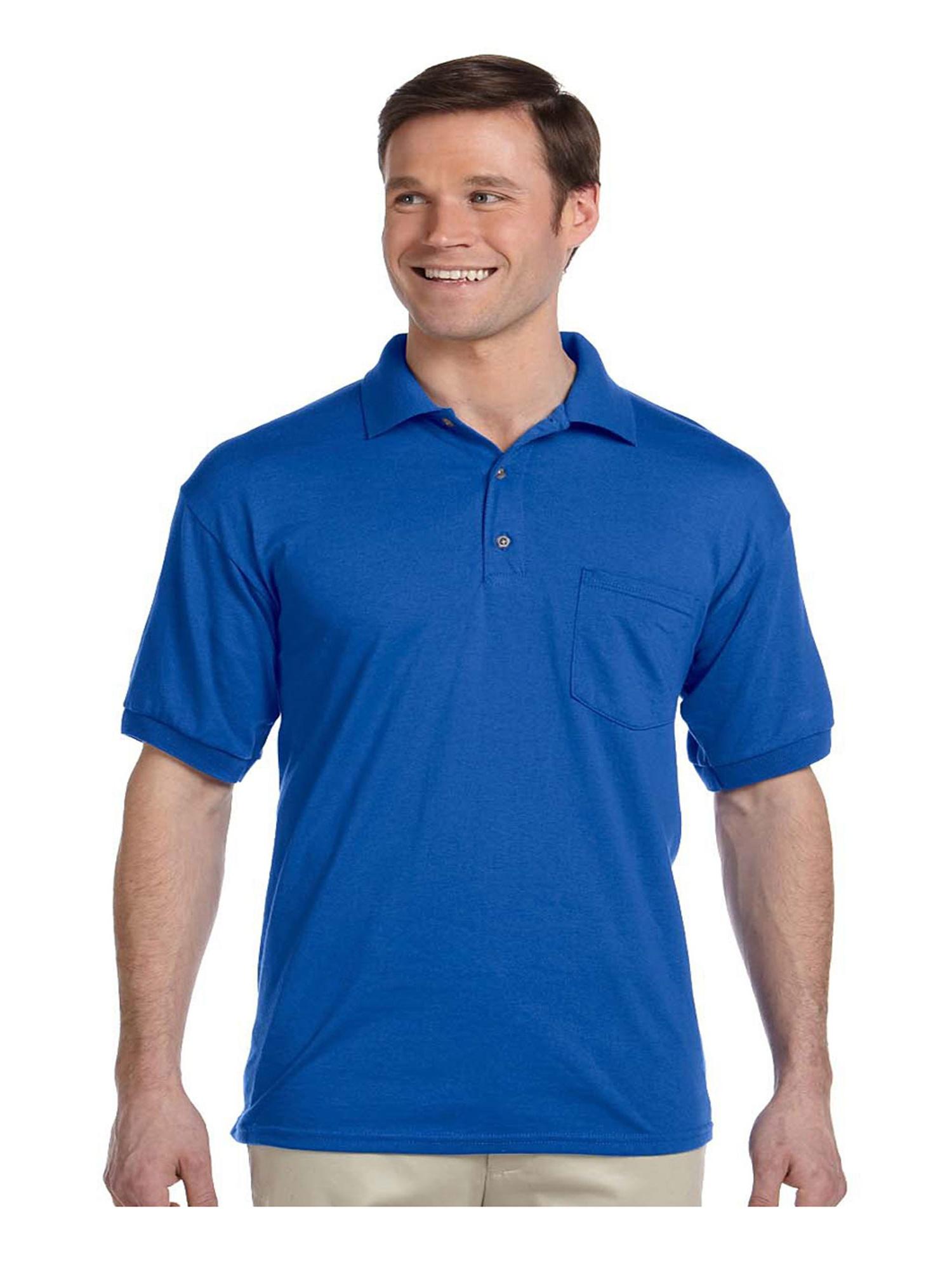 Gildan Mens Moisture Wicking Pocket Jersey Polo Shirt