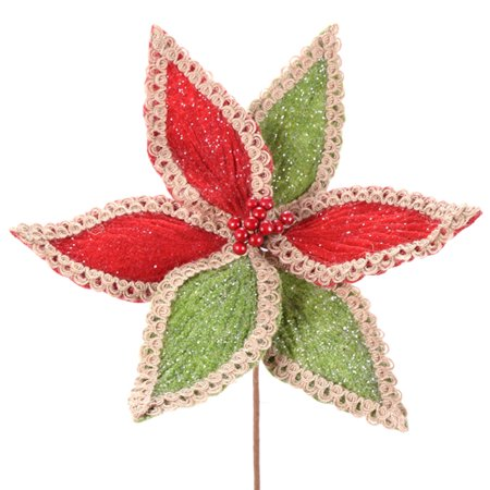 Red and Green Frosted Poinsettia Cordless Lighted Poinsettia