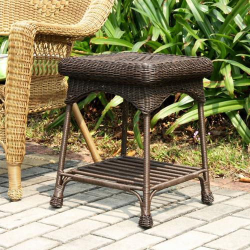 "21"" Espresso Brown Hand Woven Resin Wicker Indoor/Outdoor Patio Garden End Table"