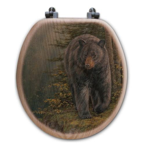 WGI-GALLERY Rocky Outcropping Bear Oak Round Toilet Set