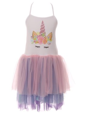 c8de03bc64 Product Image Toddler Girls Unicorn Glitter Tutu Tulle Birthday Party  Flower Girl Dress White Pink 2T XS (