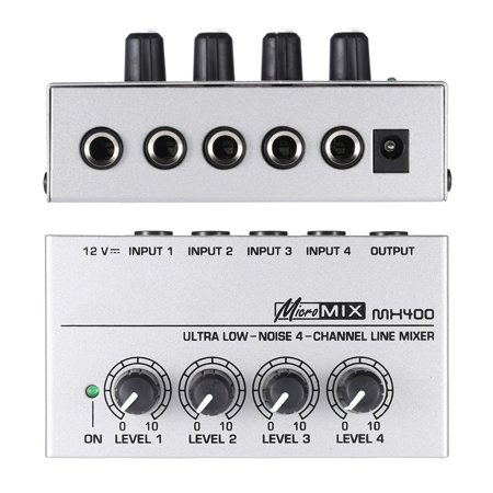 MX400 4 Channels Low Noise Ultra-compact Line Mono Audio Mixer US Adapter Last One Mono Mini Mixer