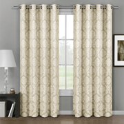 Pair (Set of 2) Aryanna Damask Floral Curtains Jacquard Grommet Panels - 108x96 - Beige