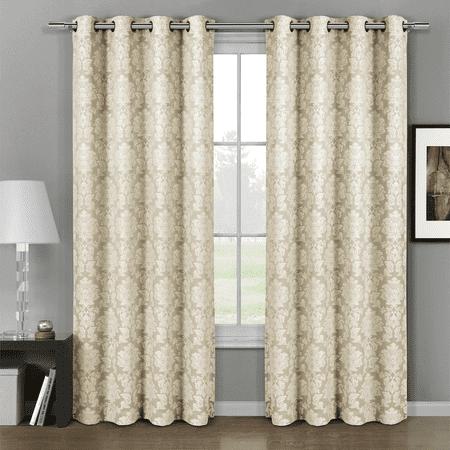 Pair (Set of 2) Aryanna Damask Floral Curtains Jacquard Grommet Panels - 108x96 - Beige ()