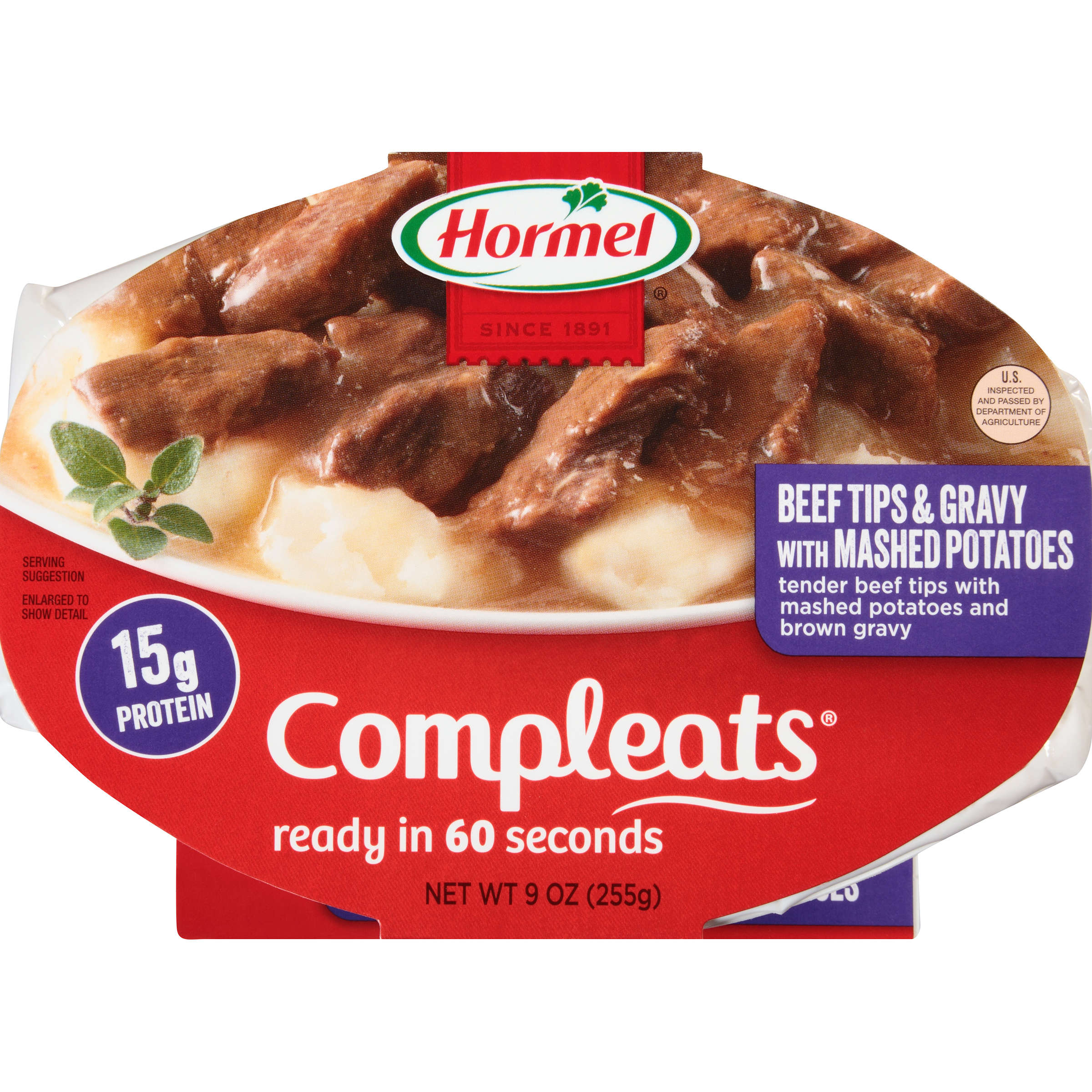 HORMEL COMPLEATS Beef Tips & Gravy with Mashed Potatoes 9 oz. Container by Hormel