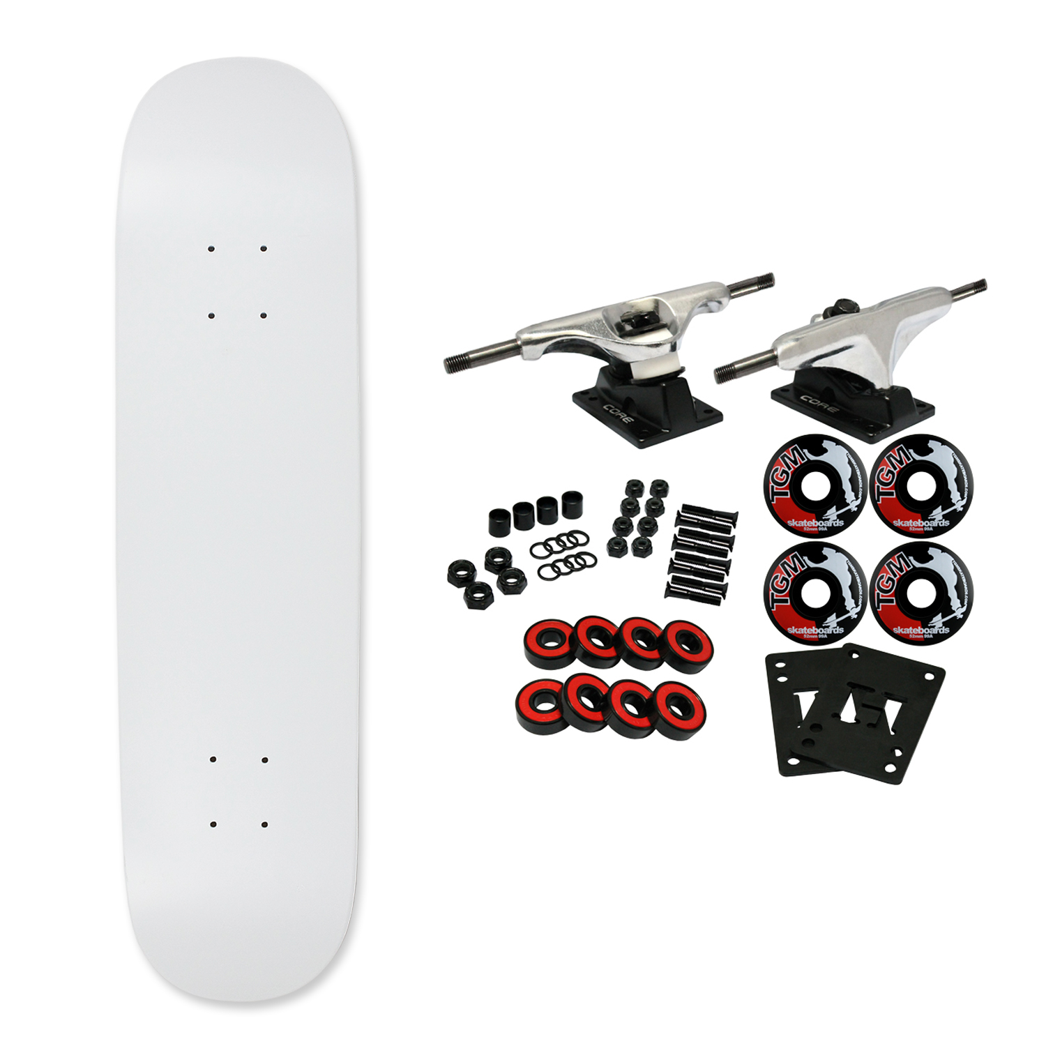 "Moose Complete Skateboard DIPPED WHITE 7.63"" Silver/Black"