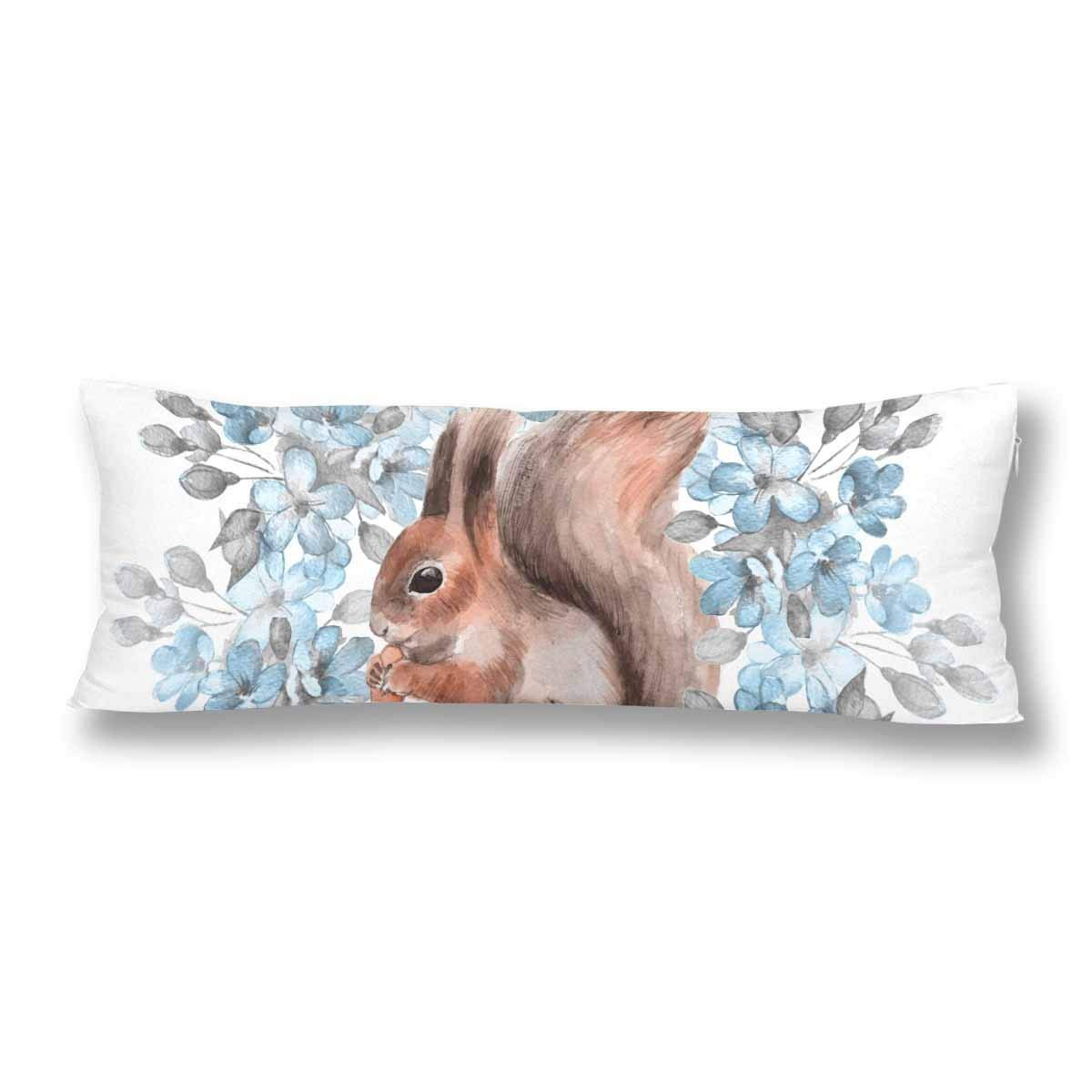 ABPHOTO Squirrel And Blue Flowers Body Pillow Covers Pillowcase Throw Pillows 20x60 inch