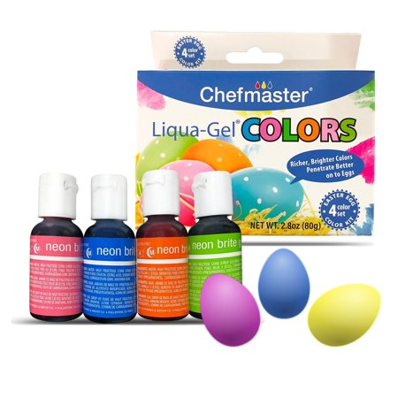 Easter Egg Decorating Kit for Kids by Chefmaster, 4-Pack Neon Gel Egg Dye  for Easter, 2.8oz Food Coloring Drops for Eggs, Vibrant Liquid Food Dye  Gels ...