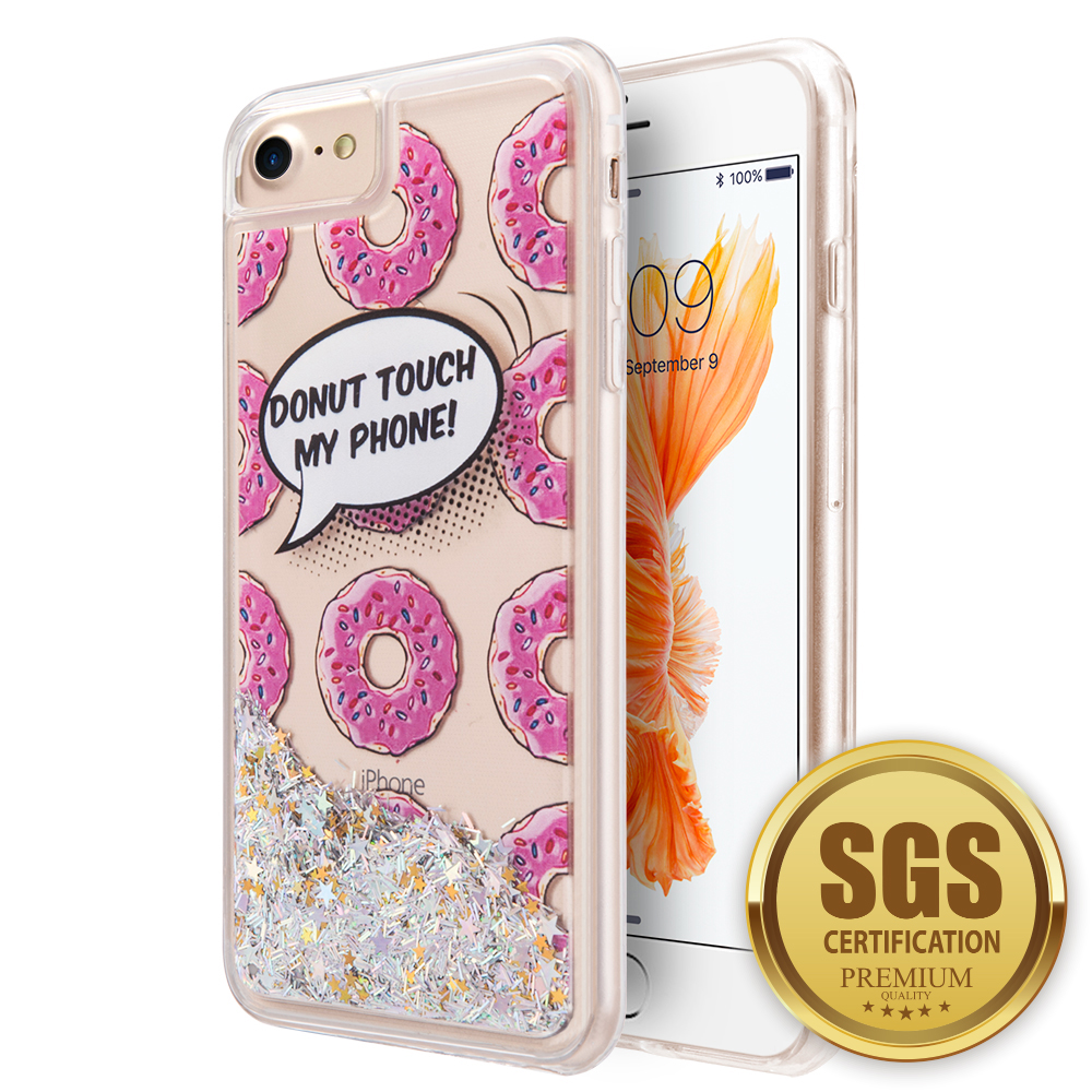 Luxmo Cell Phone Cases Cover for iPhone 7 Cover Waterall Liquid Sparkling Quicksand Tpu Cases - Donuts