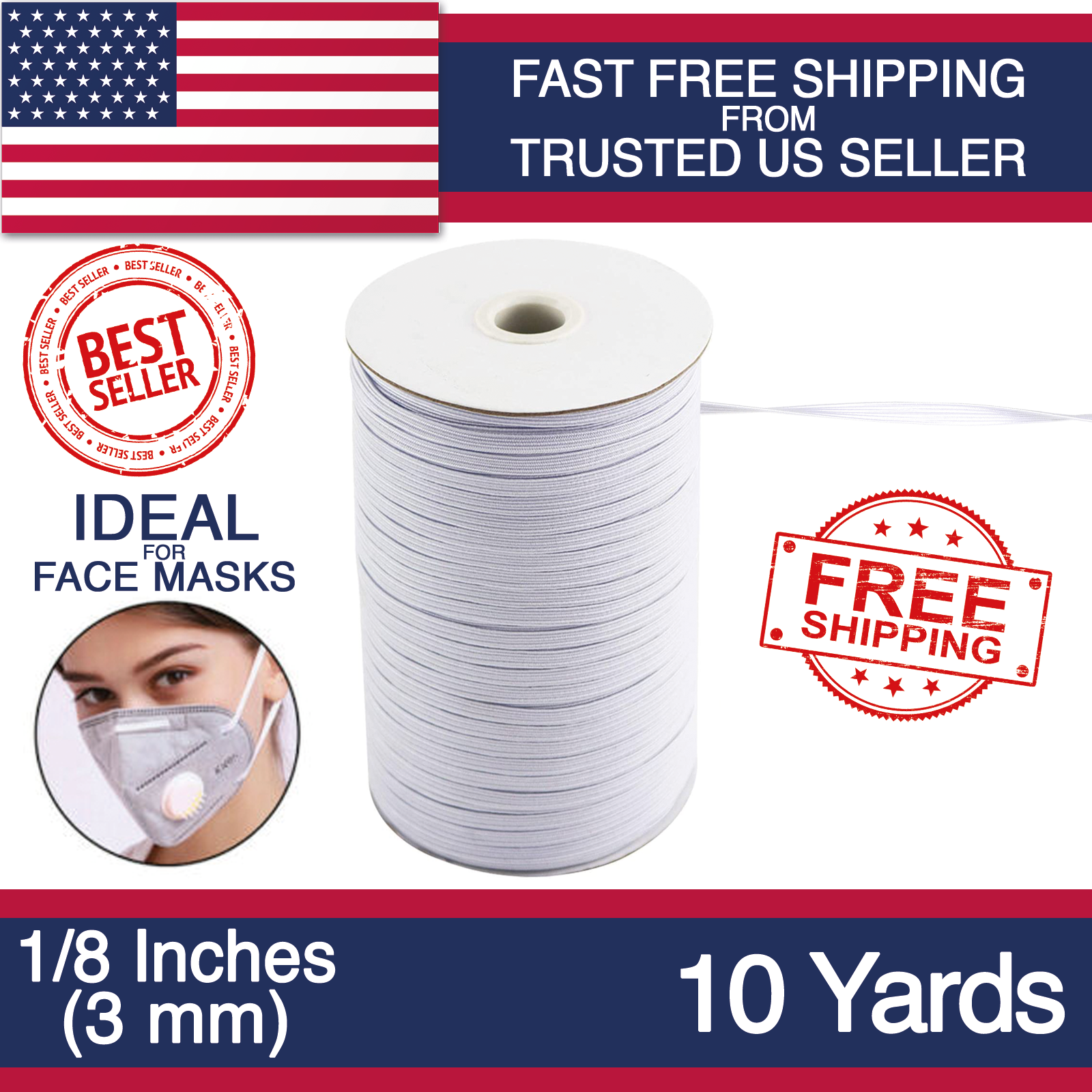 Roll Braided Elastic 1//4 inch White Color Elastic for Sewing /& Craft Washable and Dry cleanable Elastic Bands for Sewing 1//4 inch 25 Yards Long