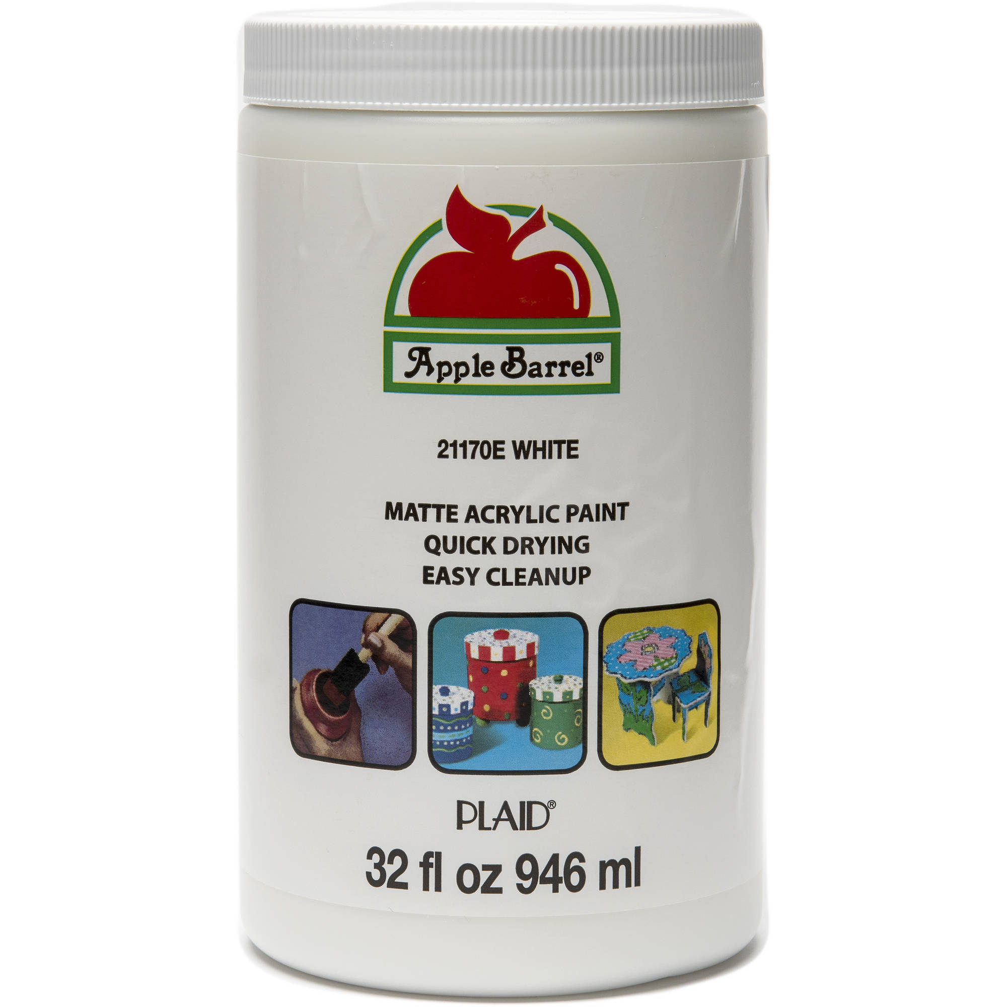 Apple Barrel Matte Finish Acrylic Craft Paint by Plaid, White, 32 oz.