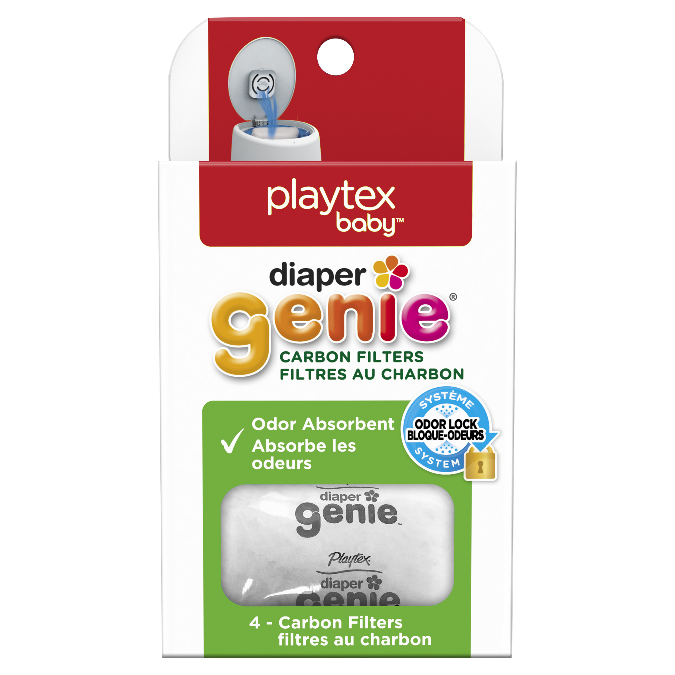 Playtex Diaper Genie Carbon Filter Refills for Diaper Genie Pails - 4 Pack
