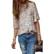 HOT Sequin Womens Lady Sparkle Glitter Tank 3/4 Sleeve Cocktail Party Top T-Shirt