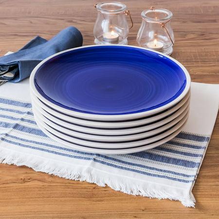 Better Homes & Gardens Indigo Swirl Dinner Plates, Blue, Set of 6