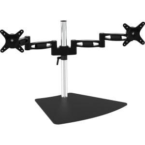 "Amer Dual Monitor Free Standing Desk Mount - Up to 28"" Screen Support - Freestanding, Desktop - Steel, Aluminum - Black"