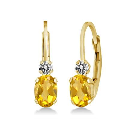 0.87 Ct Oval Yellow Citrine White Diamond 14K Yellow Gold Earrings