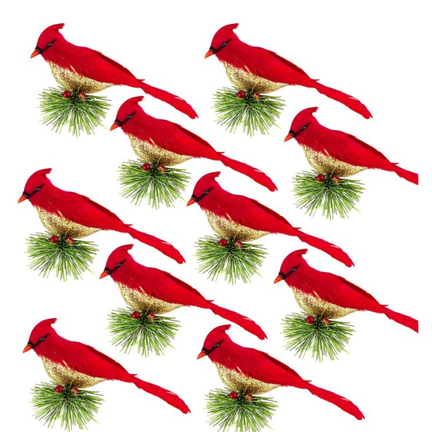 Mersariphy Artificial Feathered Birds Small Red Robin Bird Figurine With Clip Christmas Tree Ornament For Home Walmart Com Walmart Com