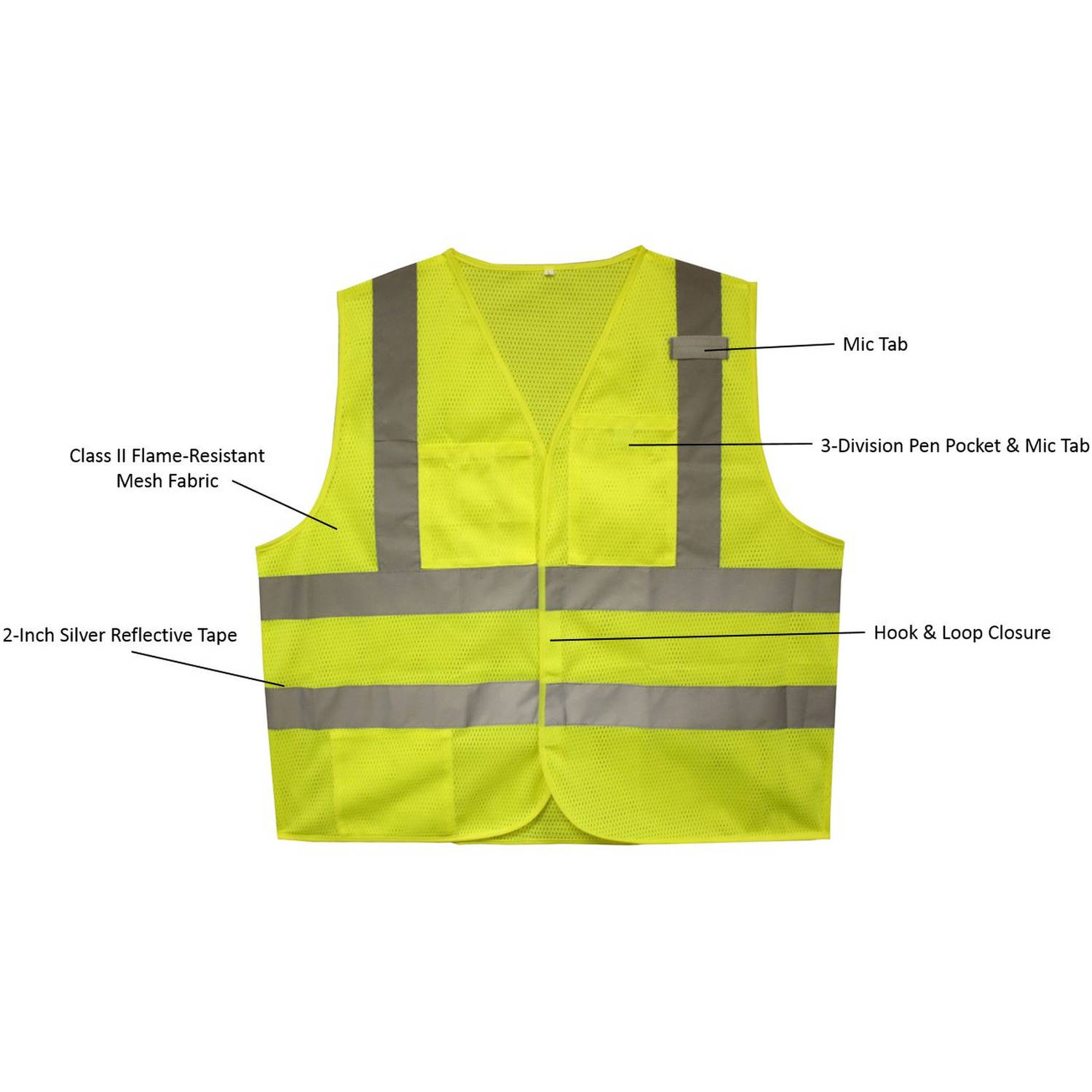 4db1c2867b0b Cordova Flame-Resistant Class II High-Visibility Lime 2-Pocket Safety Vest  - Walmart.com