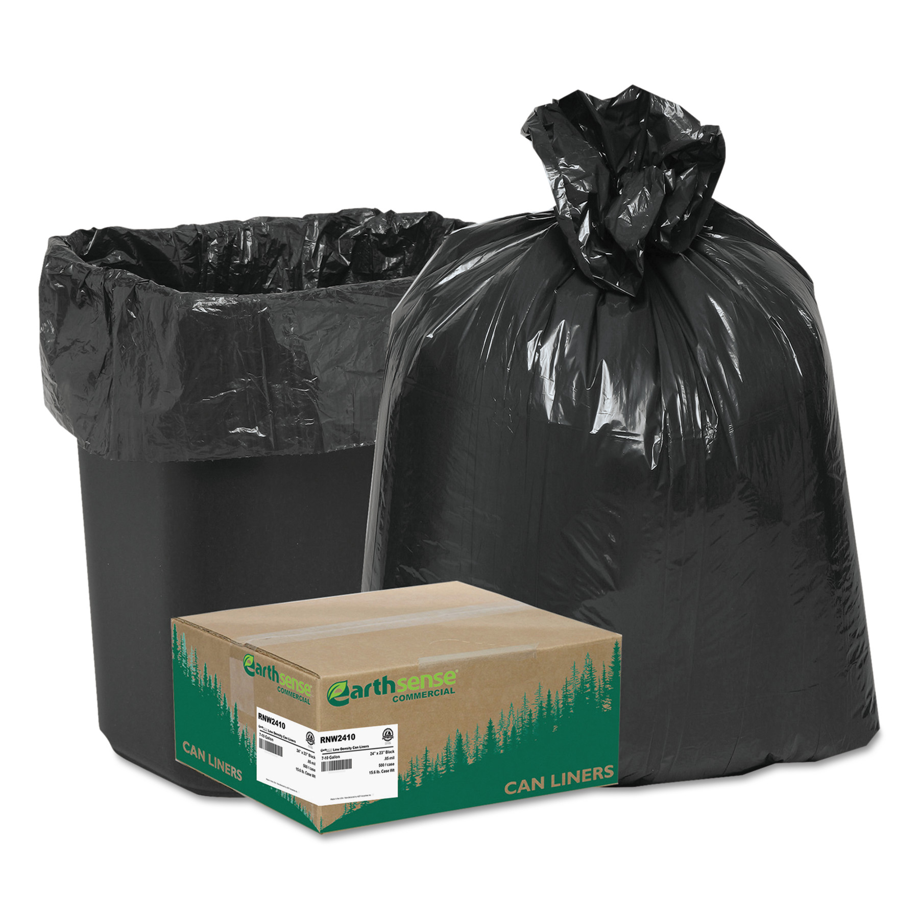 Earthsense Commercial Black Can Liners, 7-10 Gallon, 500 Count