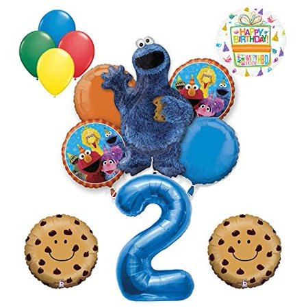 Mayflower Products Cookie Monster and Friends 2nd Birthday Party Balloon Bouquet Decorations - Cookie Monster Birthday Decorations