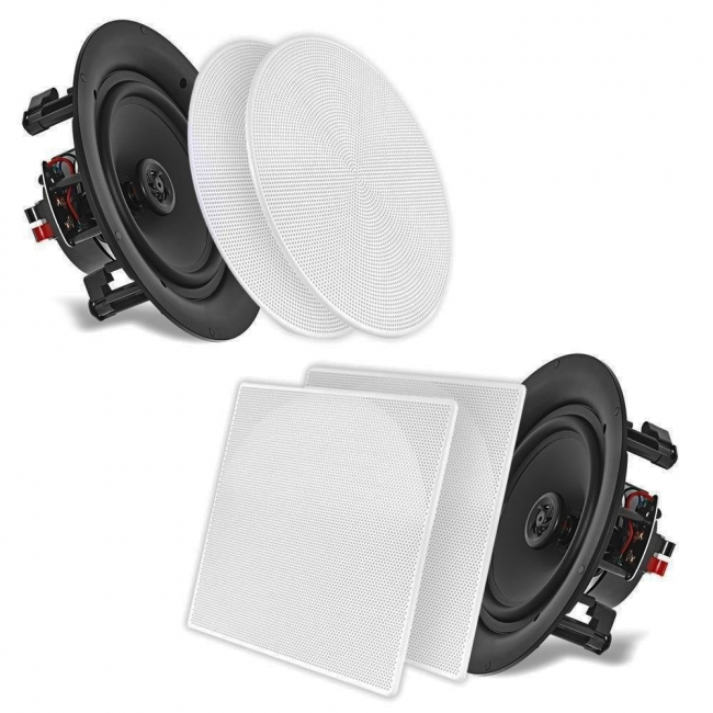 "Pyle 10.0"" In-Wall / In-Ceiling Dual Stereo Speakers, 250 Watt, 2-Way, Flush Mount, White"