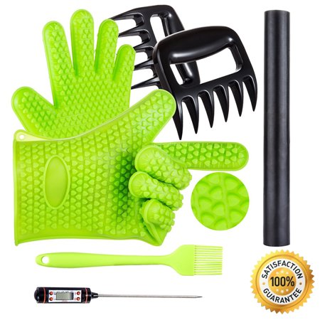 pulled pork shredder claws -- 5 in 1 BBQ Set with Silicone Gloves,Bear Claws, Meat Thermometer, Silicone Basting Brush, Non-stick BBQ Baking Mat for Indoor or Outdoor