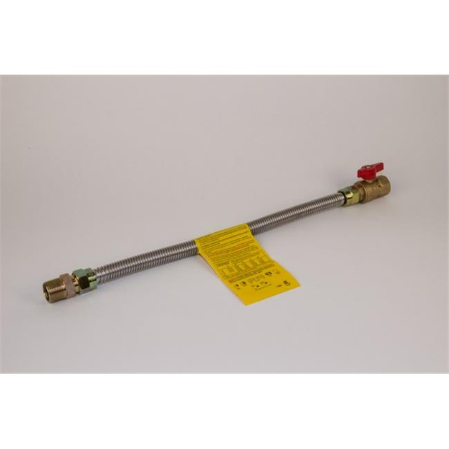 Charman 900-58-A17-18 Uncoated Gas Connector with Straight Ball Valve - 5/8 inch OD 1/2 inch MIP x 1/2 inch FIP - 18 inch
