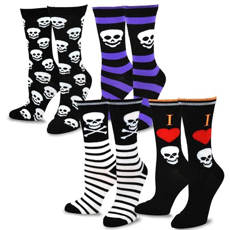 TeeHee Halloween Kids Cotton Fun Crew Socks 4-Pair Pack (Skull Stripe) - Halloween Crossfit Socks